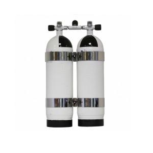 Bi Bouteilles 2 x 10 Litres CARBONDIVE avec cerclage et isolateur