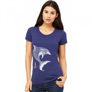 T-Shirt KANUMERA Le Dauphin Tatoo Dame Bleu Chiné