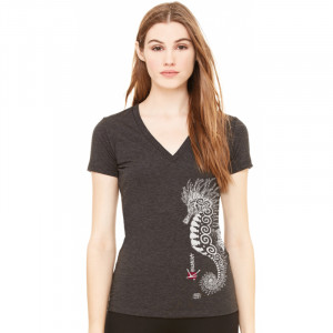 T-Shirt KANUMERA L'Hippocampe Tatoo Gris Dame