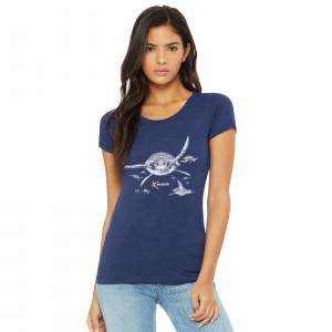 T-Shirt 3 Matières LES TORTUES Dame Bleu Chiné