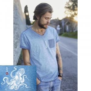 T-Shirt KANUMERA La Pieuvre Tatoo Homme SKY BLUE