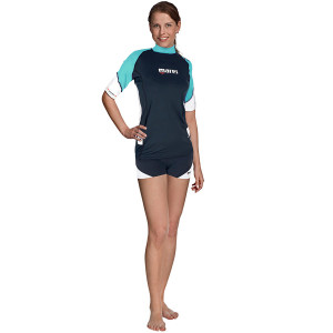 Top RASHGUARD Loose Fit MARES Manches Courtes Dame Turquoise