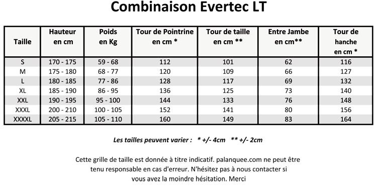 grille de taille des combinaison Scubapro Evertec LT
