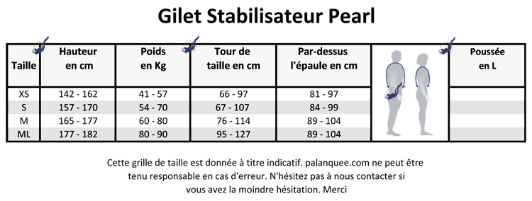 grille taille gilet stabilisateur Aqualung Pearl