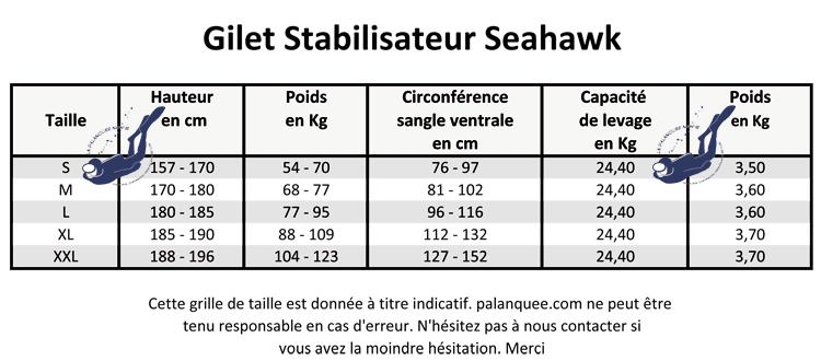 Grille de tailles gilet stabilisateur Scubapro Seahawk